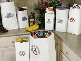 White Grocery Bags Custom Printed